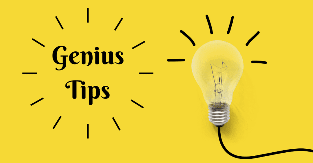 Genius Tips Photo with light bulb